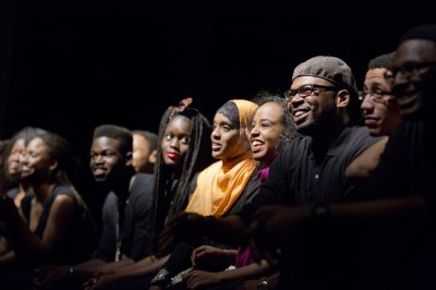 Bates student performers in the organization Sankofa answer questions from the audience following their performance during the evening of Martin Luther King Jr. Day 2014. (Phyllis Graber Jensen/Bates College)