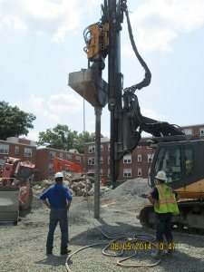 "Helical Drilling at work. Many thanks to Janet Haines '75, director of real estate at the Brookline (Mass.) Housing Authority, for this photo of Helical implanting geopiers at a project last August. ""Helical was great and the vibration was minimal,"" says Janet."