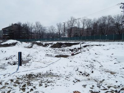 "Starting early in 2015, the soil in this section of the 65 Campus Ave. site will be made suitable for building with the implanting of 250-plus ""geopiers."" Imagine the Michelin Man's leg, writ large. (Doug Hubley/Bates College)"