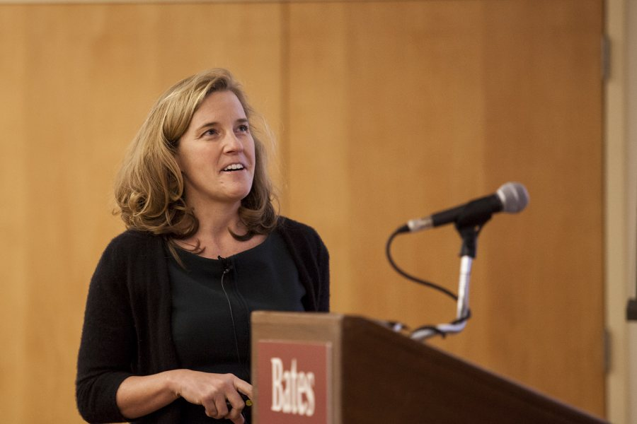 Rebecca Herzig delivers a talk celebrating her appointment as the Christian A. Johnson Professor of Interdisciplinary Studies at Bates on Dec. 2. (Sarah Crosby/Bates College)