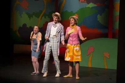 "Colette Girardin '16, Rusty Epstein '13 and Nancy Weidner '13 perform ""Seussical the Musical"" in May 2013 during the Robinson Players' annual production for local schoolchildren. (Mike Bradley/Bates College)"