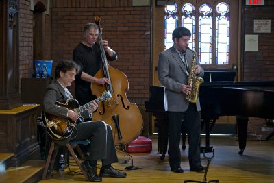 John Smedley, Tim Clough and Dale Chapman -- aka the Three Point Trio -- opened the King Day keynote event with jazz. (Phyllis Graber Jensen/Bates College)