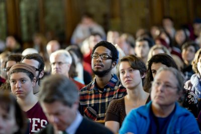 The Gomes Chapel audience during the 2015 MLK Day keynote address by Tufts University historian and author Peniel Joseph. (Phyllis Graber Jensen/Bates College)
