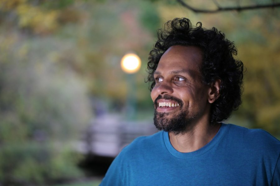 Poet Ross Gay reads in a Language Arts Live event.