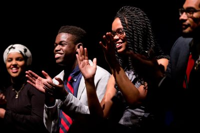 Members of Sankofa respond to audience questions following the student ensemble's 2015 performance. (Phyllis Graber Jensen/Bates College)