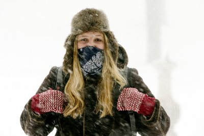 """I consider myself a fairly tough Mainer but even with bundling up this morning, it seems like I was no match for today's blizzard,"" says Sarah Stanley '16 of Springvale, Maine, an environmental studies major with a minor in geology."