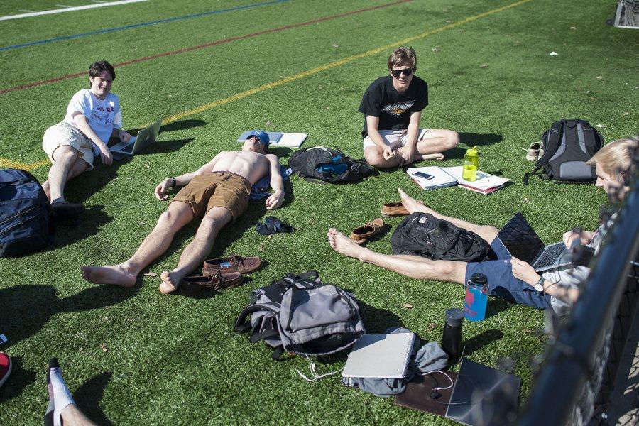 Bates students enjoy a beautiful 70 degree Monday to start finals week.