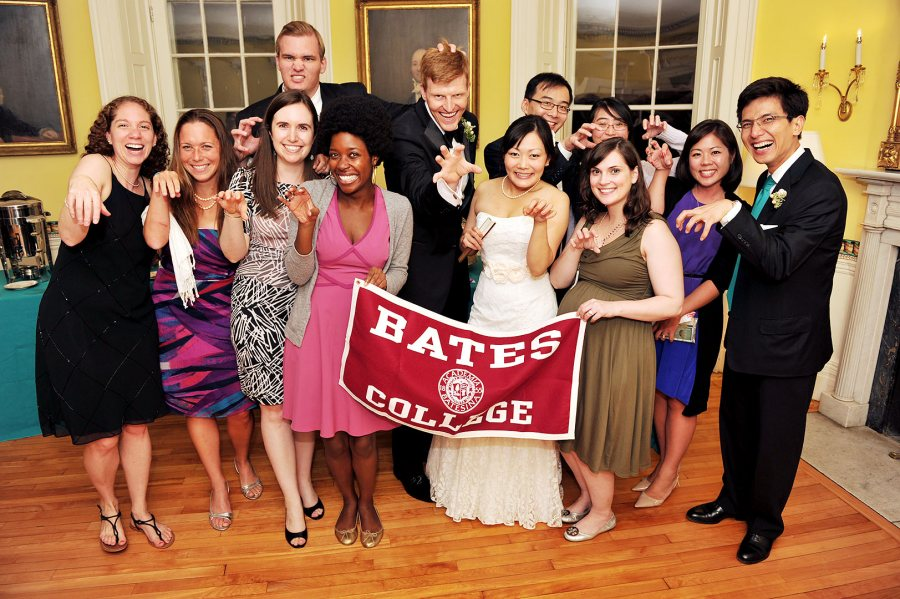 Bates friends of Akiko Doi '07 and Christopher Theile '07 adopt the Bobcat pose at their wedding in September 2013. Over time, the politics of marriage has influenced Bates' very well-being.