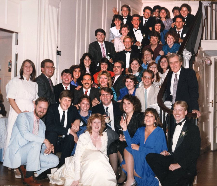 At the October 1987 wedding of classmates Graham Anderson '85 (lower right) and Shannon Billings '85 (bottom center), there were 39 Bates alumni among the wedding guests, including the late Edmund S. Muskie '36, hard to miss at middle right.