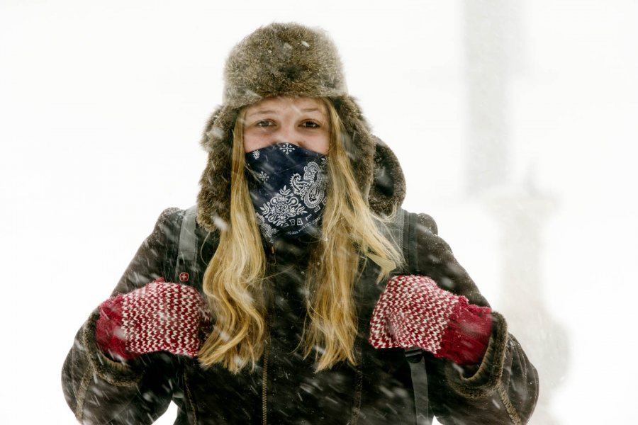 """I consider myself a fairly tough Mainer but even with bundling up this morning, it seems like I was no match for today's blizzard,"" says Sarah Stanley '16 of Springvale, Maine. (Phyllis Graber Jensen/Bates College)"