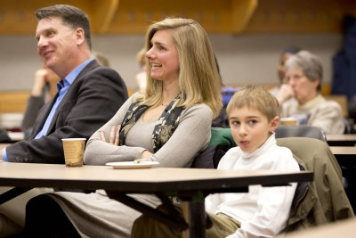 In the audience at Alex Dauge-Roth's Kroepsch Lecture were, from left, departmental colleague Kirk Read; Katherine Dauge-Roth, Alex's wife; and their son, Aymeric Dauge-Roth. (Phyllis Graber-Jensen/Bates College)