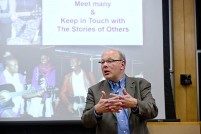 Alexandre Dauge-Roth gives the Kroepsch Lecture on March 18, 2015. (Phyllis Graber Jensen/Bates College)