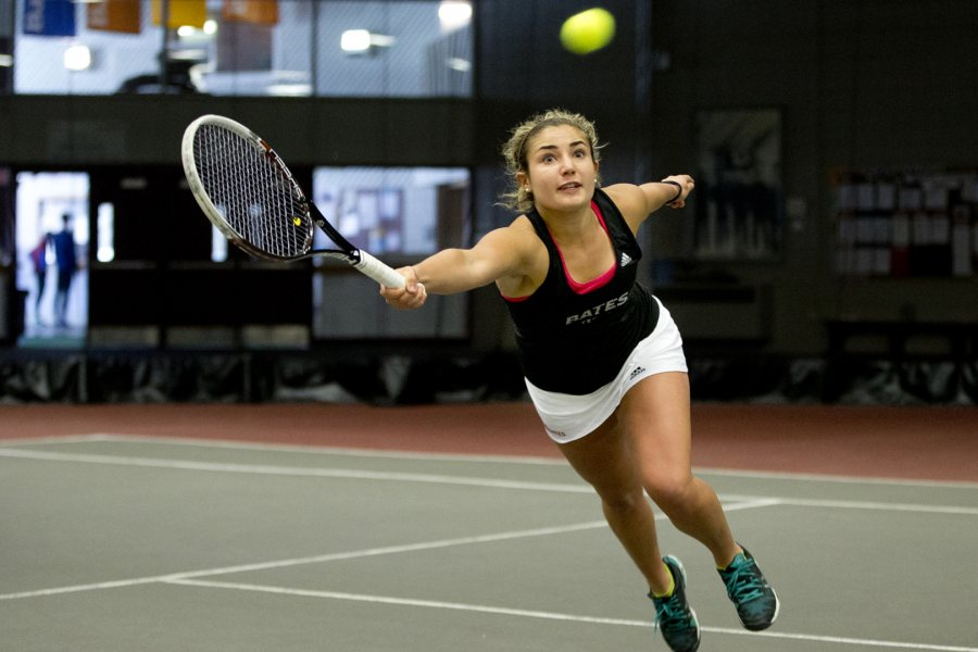"""We have a strong group of girls and very supportive coaches. It's simply a great feeling to grind it out on the court,"" says economics major and varsity tennis player Libby Voccola '17 of Falmouth, Maine. (Phyllis Graber Jensen/Bates College)"