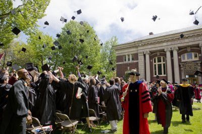 Students celebrate receiving their degrees last May. (Phyllis Graber Jensen/Bates College)