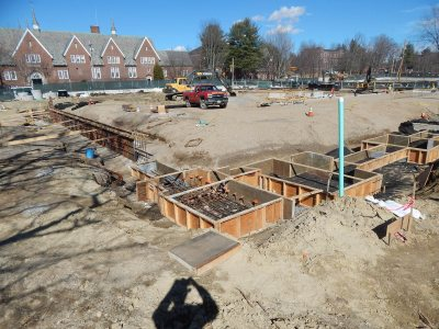 Excavations and forms for footings at 55 Campus Ave., seen on April 14, 2015. (Doug Hubley/Bates College)