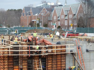 The growing foundation of the student residence at 65 Campus Ave., seen on March 26, 2015. (Doug Hubley/Bates College)