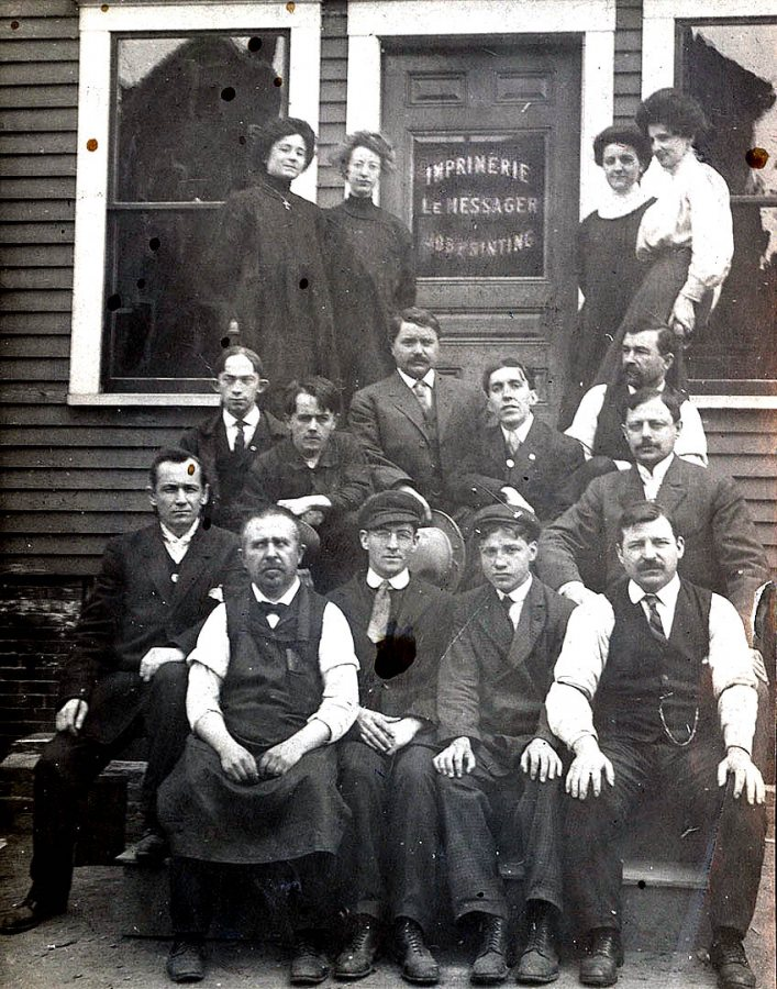"Staff of Lewiston's French-language newspaper Le Messager, circa 1910.  From ""The Franco-Americans of Lewiston-Auburn"" courtesy of the University of Southern Maine, Franco-American Collection."