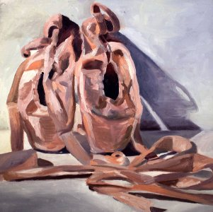 """Ballet Shoes,"" an oil painting by Katharine Hubbard."