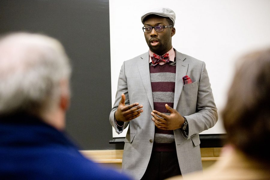 Daniel Oyolu '15 gives a presentation on legal traditions represented in the Gospel of Luke during the 2015 Mount David Summit, Bates College's annual celebration of student academic achievement. (Phyllis Graber Jensen/Bates College)