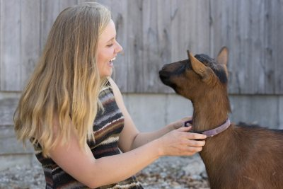 Watson Fellow Caroline Caldwell '15 greets a goat at Nezinscot Farm. (Phyllis Graber Jensen/Bates College)