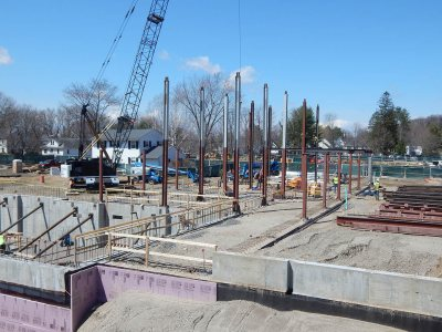 Uprights in place on the first day of placing steel at 65 Campus Ave., April 22, 2015. (Doug Hubley/Bates College)