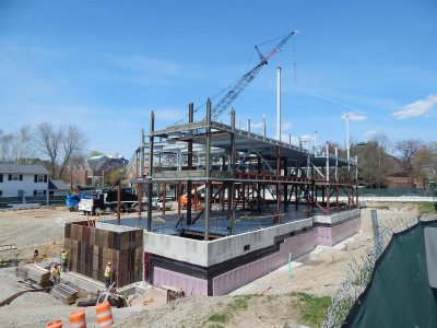 The state of the steel at 65 Campus Ave. on May 7, 2015, seen from Central Avenue and the official Campus Construction Update ladder. (Doug Hubley/Bates College)