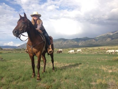 Caroline Caldwell at Zapata Ranch, in Colorado, during her 2014 internship.
