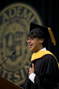 Award-winning mathematician and Princeton professor Manjul Bhargava offered the Commencement address at Bates' 2015 Commencement. (Phyllis Graber Jensen/Bates College)