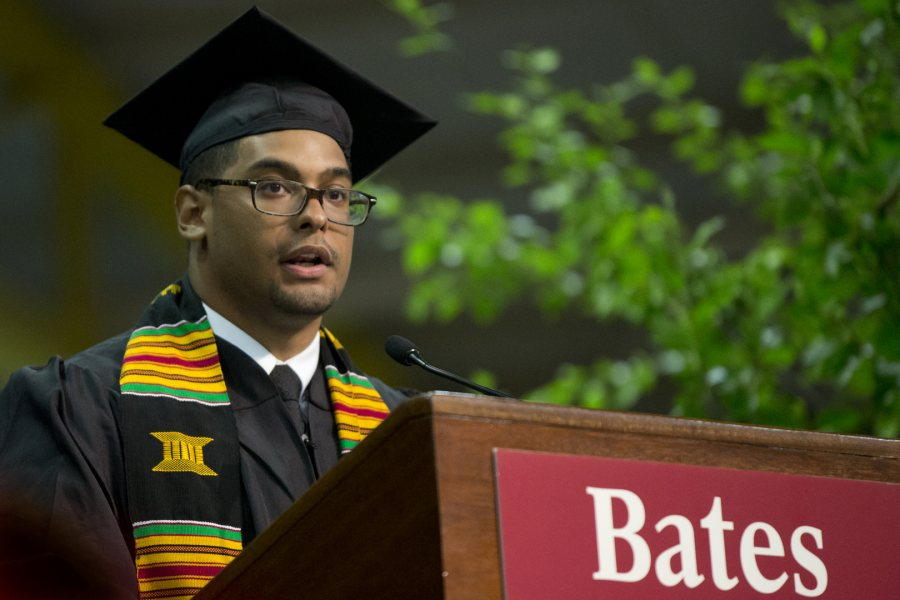 Alex Bolden '15 of Cleveland offered the Senior Address at Commencement 2015 -- and had good news to share about a proposal. (Phyllis Graber Jensen/Bates College)