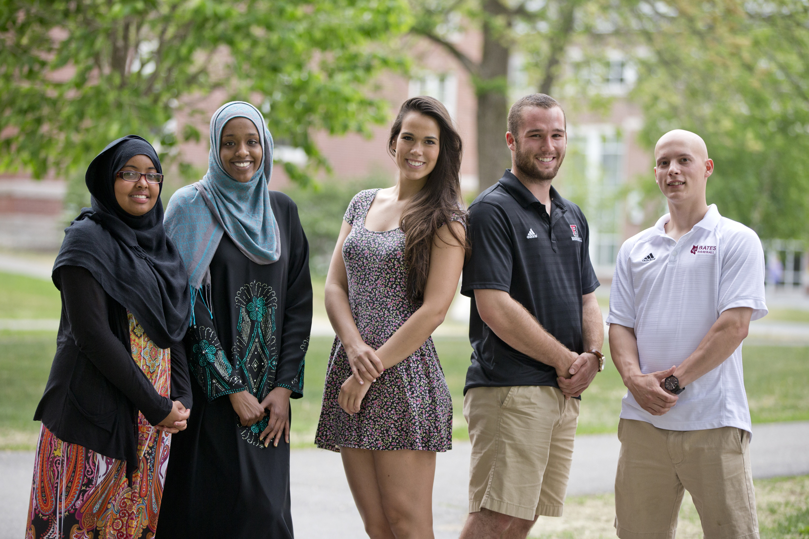 Bates College seniors, left to right, Naima Qambi, Asha Mahamud, Allaina Murphy, Mekae Hyde and Alex Parker are graduating from Bates College on May 31.