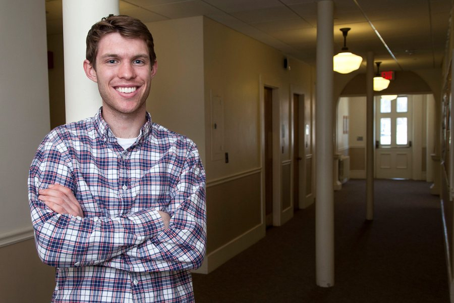 Michael Creedon '15, an English major from Medfield, Mass., has received a 2015-16 Fulbright English Teaching Assistantship for Brazil. (Josh Kuckens/Bates College)