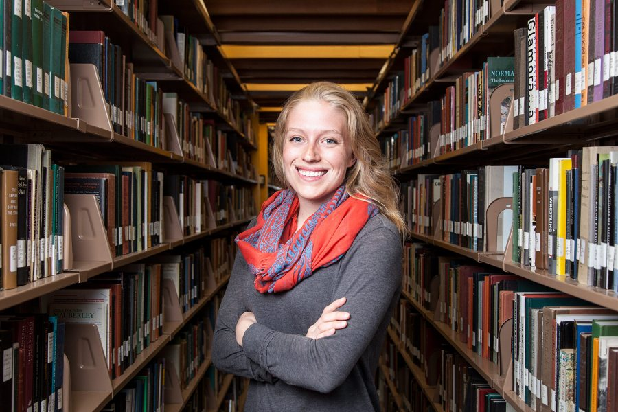 Quincy Snellings '15 of Lexington, Mass., a double major in sociology and English, has received a 2015-16 Fulbright English Teaching Assistantship for Brazil. (Josh Kuckens/Bates College)