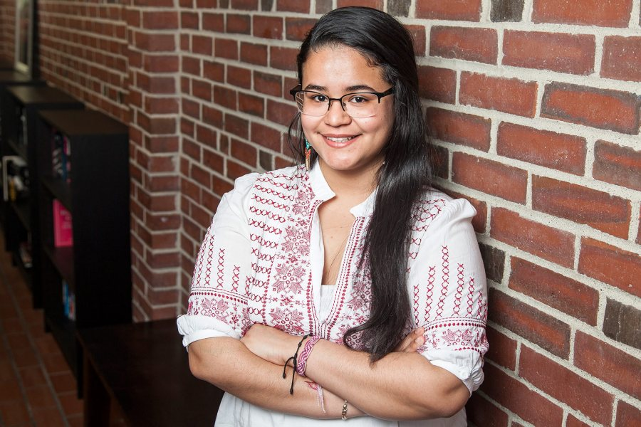 Barbara Crespo '15, an environmental studies major from New York City, has received a Fulbright Teaching Assistantship for Guatemala. (Josh Kuckens/Bates College)