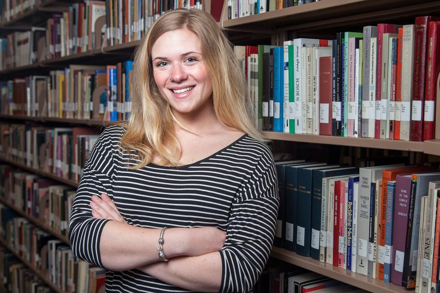 Grace Pezzella '15, a history major from Newburyport, Mass., has received a 2015-16 Fulbright Teaching Assistantship for Malaysia. (Josh Kuckens/Bates College)