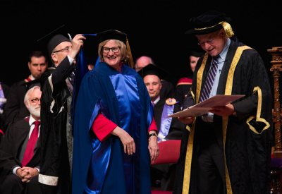 Clayton Spencer receives an honorary degree from Bishop's University in Quebec on June 6. (Photo courtesy of Bishop's University)