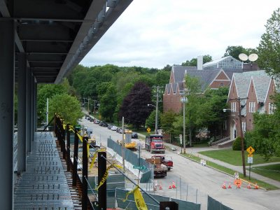 Chase Hall and Carnegie Science Hall, seen from the third floor of 65 Campus Ave. on June 3, 2015. (Doug Hubley/Bates College)