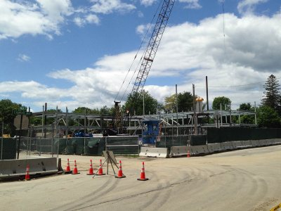55 Campus Ave. seen at noon on June 10, 2015, eight days after steelwork began. (Doug Hubley/Bates College)
