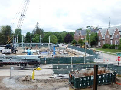 The 55 Campus Ave. construction site is shown from the second floor of No. 65 Campus on June 3, 2015. (Doug Hubley/Bates College)