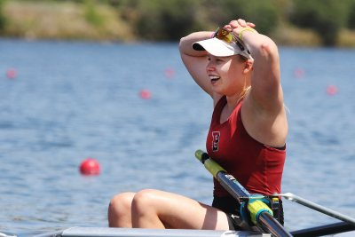 Day Two: Emilie Muller '16 of the Bates varsity eight considers the team's accomplishment: winning the college's first NCAA team championship. (Mason D. Cox '07 for Bates College)