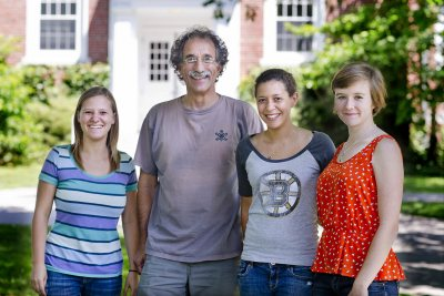 Tom Wenzel, Dana Professor of Chemistry, with three Bates students whom he recently brought along to the 27th International Chirality Conference in Boston: from left, Anna Berenson '16 of Topsfield, Mass., a biochemistry major; Tayla Duarte '17 of North Miami Beach, Fla., a neuroscience major; Wenzel; and Caroline Holme '17 of Winnetka, Ill., also a biochemistry major.