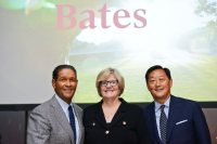 "The college's 35 percent giving increase in 2015 was matched by a surge in attendance at the annual Presidential Events, including the New York City event at the Whitney Museum of Modern Art, where  journalist Bryant Gumbel '70 (left) interviewed President Spencer and Trustee Emeritus Michael Chu '80 on the topic ""The Liberal Arts in an Age of Disruption."" (Matthew Carasella Photography)"