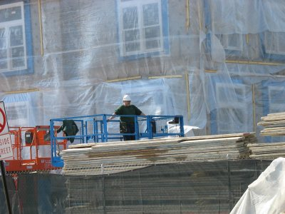 he new student housing, swaddled in plastic. (Doug Hubley/Bates College)
