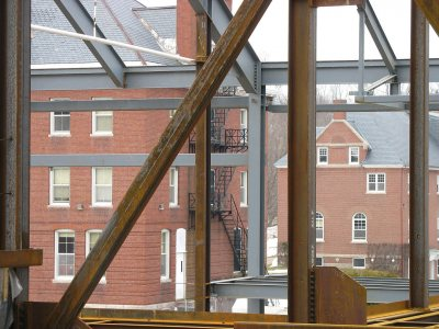 Roger Williams and Hedge halls from the Commons' second floor. (Doug Hubley/Bates College)