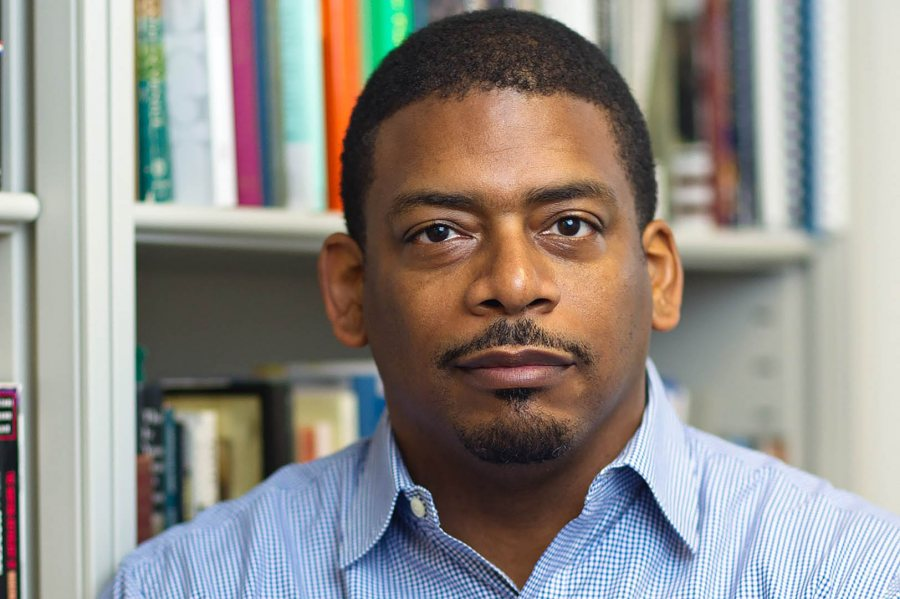 A. Van Jordan reads from his poetry at Bates on Sept. 24.