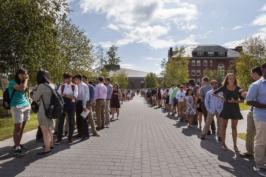 First year students file into the historic quad for Convocation.