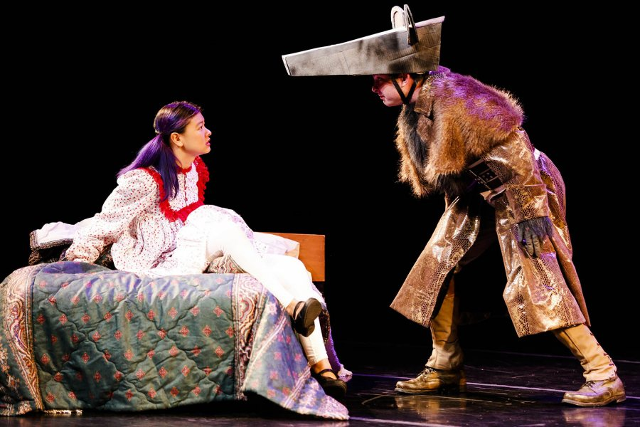 """Sophomore Keila Ching of Hololulu portrays Marie and Sam James, a junior from Raleigh, N.C., is the Mouseking in professor Martin Andrucki's """"Marie and the Nutcracker."""" (Max Huang/Bates College)"""