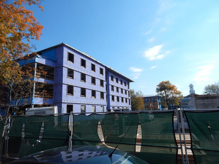 The Grape Wall: Photographed Oct. 20, 2015, the south wall at 55 Campus Ave. is still naked purple wallboard. (Doug Hubley/Bates College)