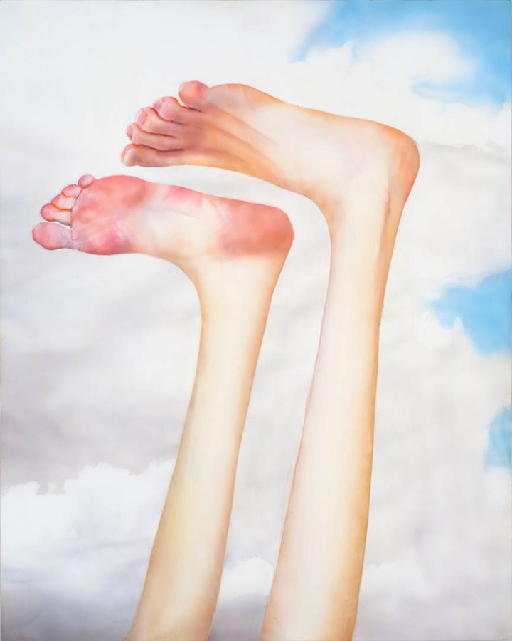 """""""Feet Up,"""" a 2013 painting in polymer emulsion on honeycomb panel, 23.75 by 19 inches, by Robert Feintuch."""