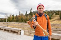 Tim Whiton '09 won the Sugarloaf Uphill Climb in Carrabassett Valley, Maine. (Jamie Walter)