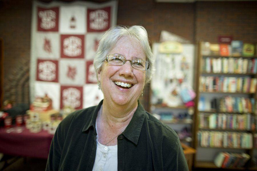 For the legions of students who have worked for her in the College Store, Sarah Potter '77 and her staff have helped to give a sense of normalcy amid their intense, day-to-day academic lives. (Phyllis Graber Jensen/Bates College)